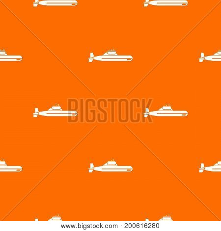 Submarine pattern repeat seamless in orange color for any design. Vector geometric illustration