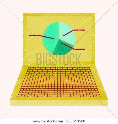 flat shading style icon Laptop chart economy