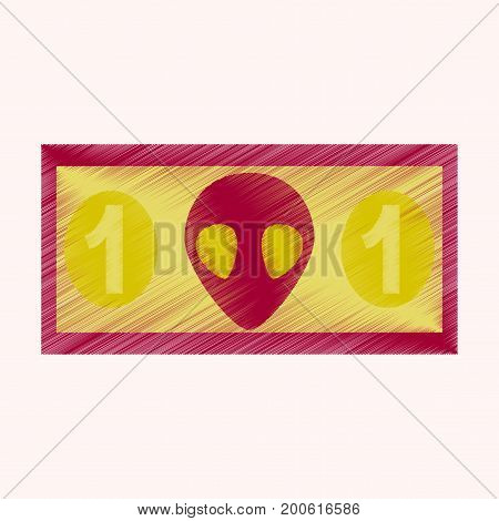 flat shading style icon currency cash banknote