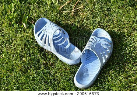 Dirty blue Slippers are on the green grass.
