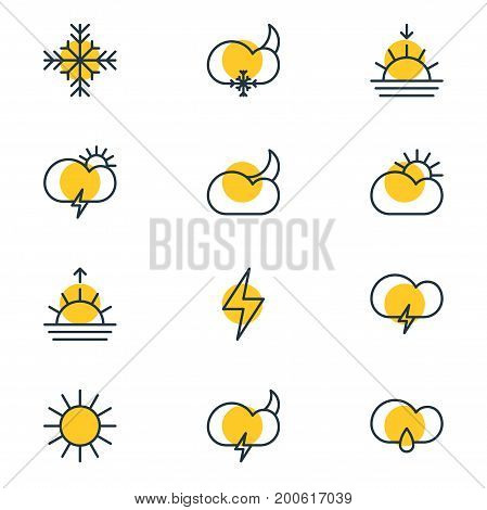 Editable Pack Of Drizzles, Snow, Sunlight And Other Elements.  Vector Illustration Of 12 Sky Icons.