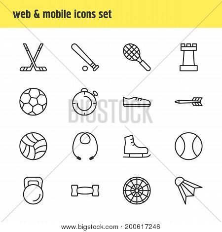 Editable Pack Of Soccer, Baseball, Tennis And Other Elements.  Vector Illustration Of 16 Athletic Icons.
