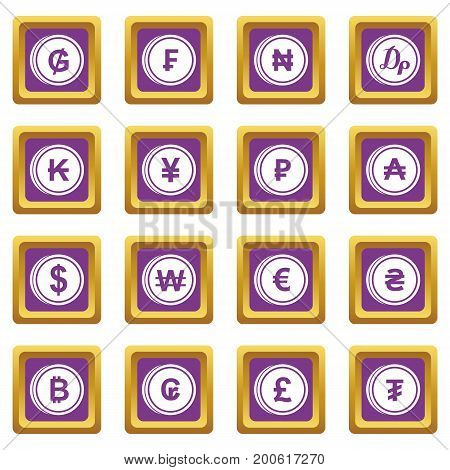 Currency from different countries icons set in purple color isolated vector illustration for web and any design