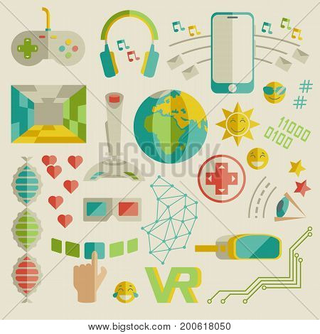 Doodle vector collection of virtual reality and innovative technologies. Flat objects: smartphone, internet, gamepad, joystick, vr-device, 3d-glasses, emoji, likes. Elegant style