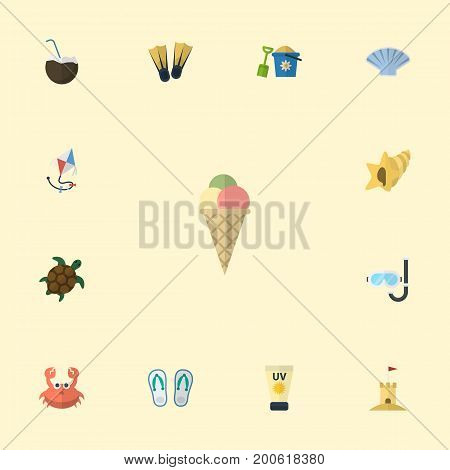 Flat Icons Shell, Sorbet, Conch And Other Vector Elements