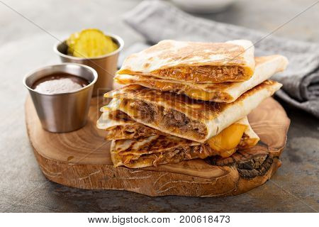 Pulled pork quesadillas with cheddar cheese and BBQ sauce