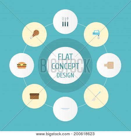 Flat Icons Silverware, Fried Poultry, Soup Spoon And Other Vector Elements