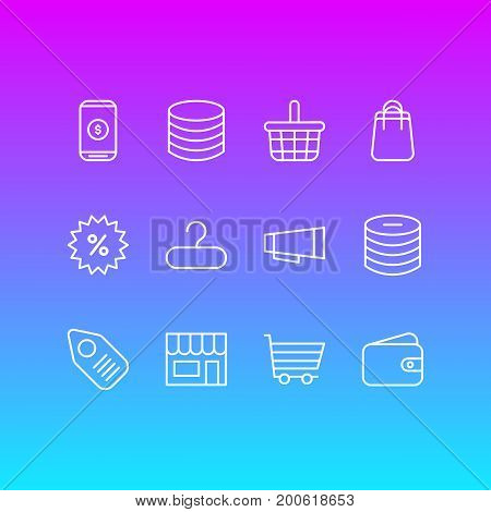 Editable Pack Of Mobile, Pottle, Minus And Other Elements.  Vector Illustration Of 12 Commerce Icons.