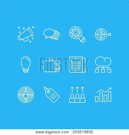 Editable Pack Of Advancement, Daily Press, Lamp And Other Elements.  Vector Illustration Of 12 Advertising Icons.