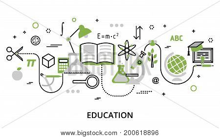 Modern flat thin line design vector illustration greenery concept of education process learning in educational institution and items of study equipment for graphic and web design