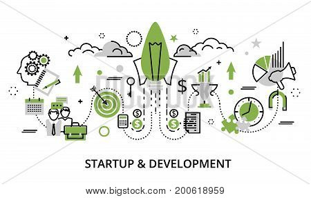 Modern flat thin line design vector illustration greenery concept of startup project business strategy and innovation development for graphic and web design