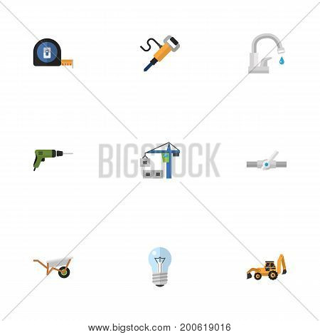 Flat Icons Pneumatic, Bulb, Electric Screwdriver And Other Vector Elements