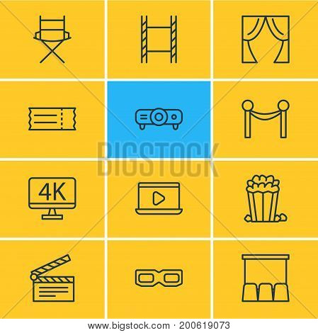 Editable Pack Of Spectacles, Resolution, Slideshow And Other Elements.  Vector Illustration Of 12 Film Icons.