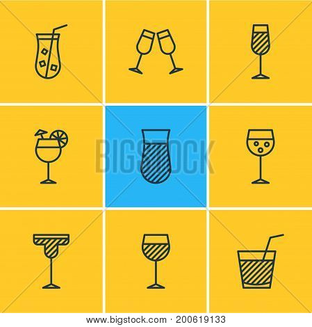 Editable Pack Of Juice, Goblet, Wineglass And Other Elements.  Vector Illustration Of 9 Beverage Icons.