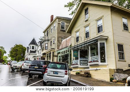 Castine, Usa - June 9, 2017: Empty Small Village In Maine During Rain With Buildings On Steep Hill M