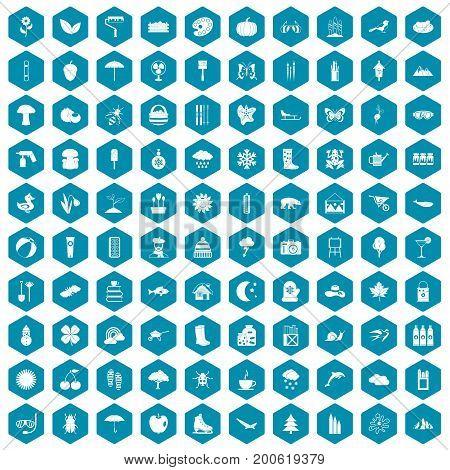 100 landscape icons set in sapphirine hexagon isolated vector illustration
