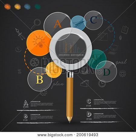 creative magnifying glass idea from pencil education infographic elements.can used for banner advertising web presentation business.Vector illustration concept.
