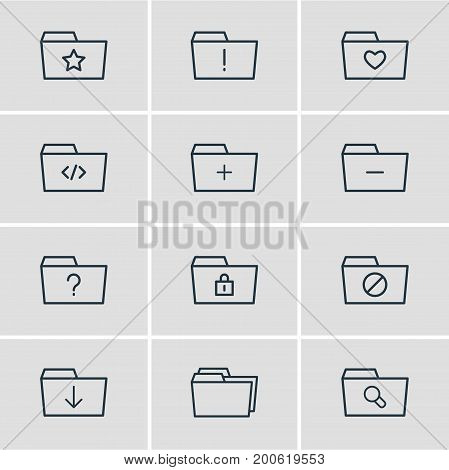 Editable Pack Of Liked, Plus, Script And Other Elements.  Vector Illustration Of 12 Document Icons.