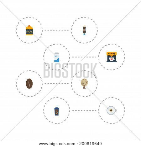 Flat Icons Timber, Mocha, Arabica Bean And Other Vector Elements