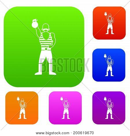 Strong man with kettlebell set icon in different colors isolated vector illustration. Premium collection