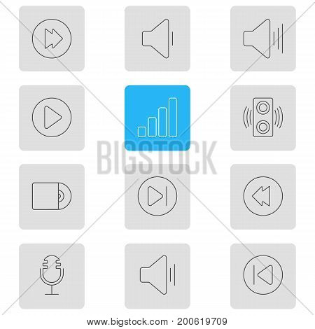 Editable Pack Of Amplifier, Compact Disk, Start And Other Elements.  Vector Illustration Of 12 Music Icons.