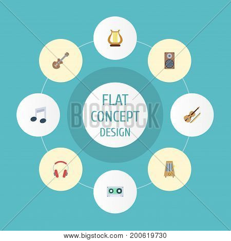 Flat Icons Tone Symbol, Rhythm Motion, Earphone And Other Vector Elements
