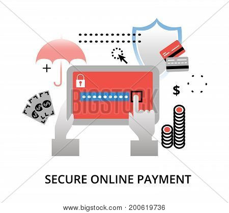 Modern flat design vector illustration secure online payment concept for graphic and web design