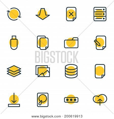 Editable Pack Of Downward, Dossier, Database And Other Elements.  Vector Illustration Of 16 Archive Icons.