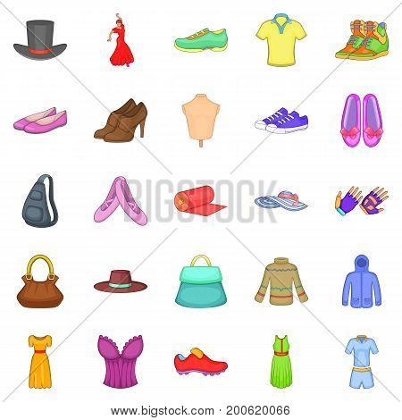 Stylish clothes icons set. Cartoon set of 25 stylish clothes vector icons for web isolated on white background