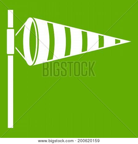 Meteorology windsock inflated by wind icon white isolated on green background. Vector illustration