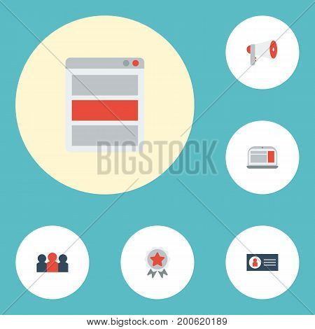 Flat Icons Award, Social Media Ads, Megaphone And Other Vector Elements