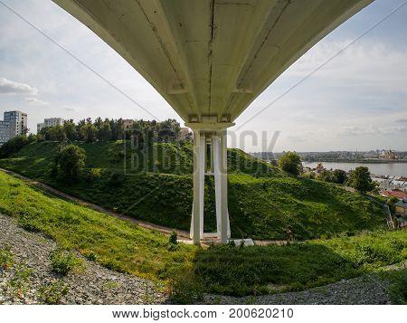 pedestrian footbridge over deep ravine in nizhniy novgorod
