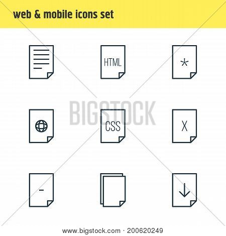 Editable Pack Of Copy, Internet, Style And Other Elements.  Vector Illustration Of 9 Page Icons.