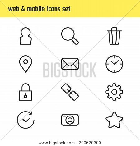 Editable Pack Of Garbage Container, Time, Letter And Other Elements.  Vector Illustration Of 12 Annex Icons.