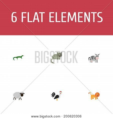 Flat Icons Reptile, Wildcat, Kine And Other Vector Elements