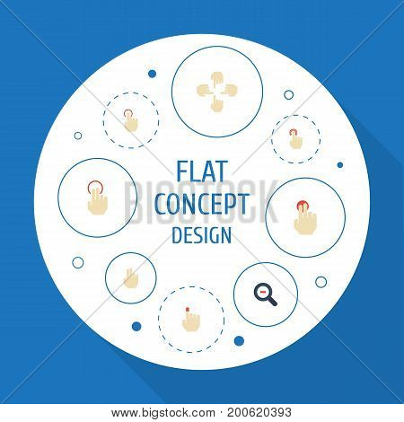 Flat Icons Gesture, Single Tap, Press And Other Vector Elements