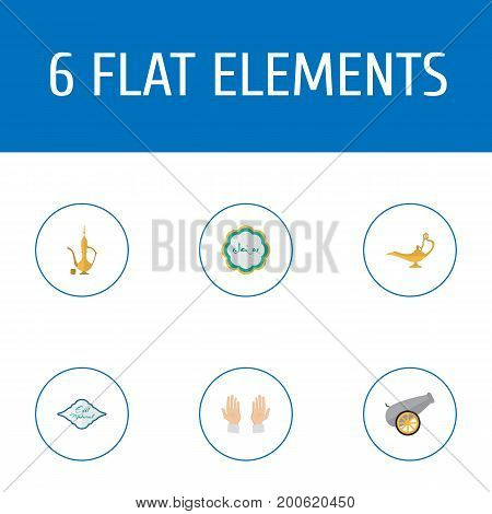 Flat Icons Genie, Palm, Decorative And Other Vector Elements