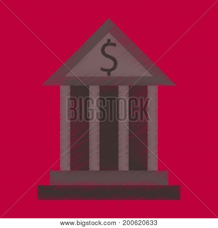 flat shading style icon business bank building