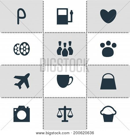 Editable Pack Of Scales, Heart, Pet Shop And Other Elements.  Vector Illustration Of 12 Travel Icons.