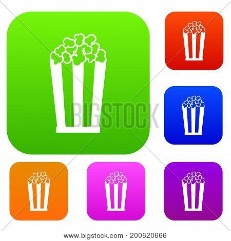 Popcorn in striped bucket set icon in different colors isolated vector illustration. Premium collection