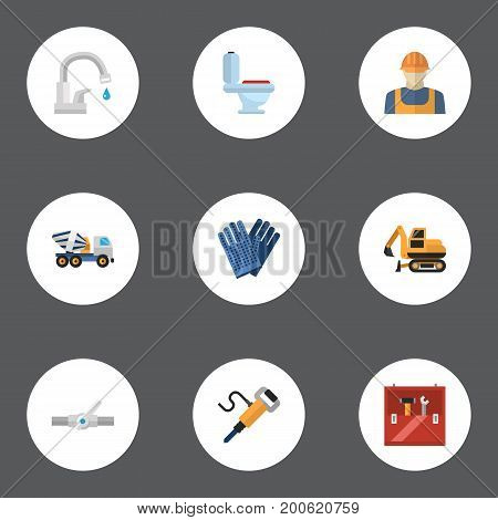 Flat Icons Pneumatic, Tractor, Restroom And Other Vector Elements