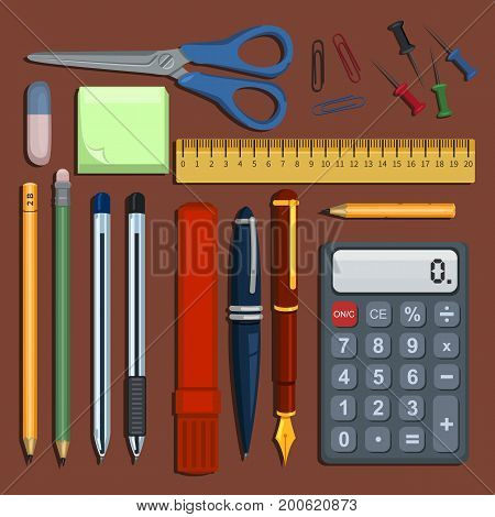Vector Set Of Flat Color Stationery Supplies For School And Business