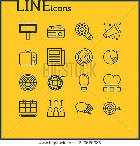 Editable Pack Of Advertising Billboard, Goal, Network And Other Elements.  Vector Illustration Of 16 Advertising Icons.