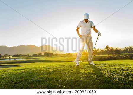 Professional Male Golfer On Field