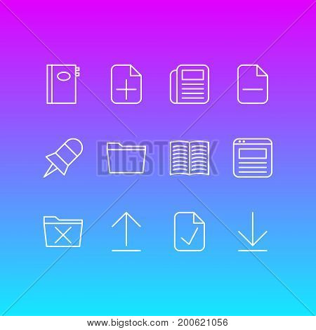 Editable Pack Of Install, Template, Delete And Other Elements.  Vector Illustration Of 12 Workplace Icons.