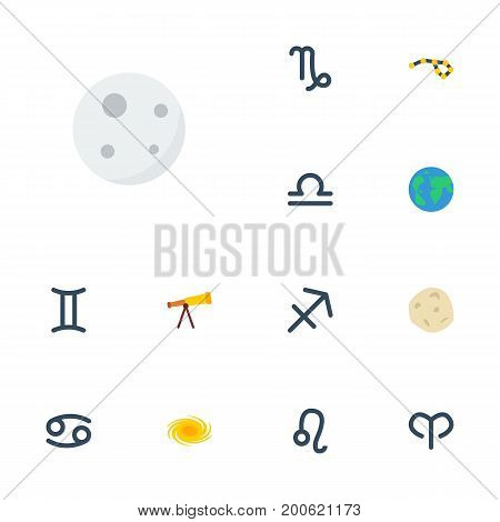 Flat Icons Horoscope, Goat, Lunar And Other Vector Elements
