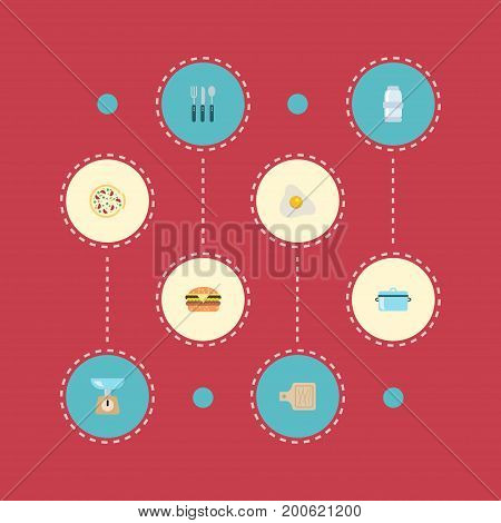 Flat Icons Kitchen Measurement, Omelette, Silverware And Other Vector Elements