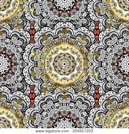 Floral ornament brocade textile pattern glass metal with floral pattern on red background with white elements. Classic vector white pattern.