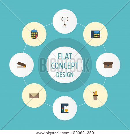 Flat Icons Board Stand, Espresso Machine, Pen Holder Vector Elements