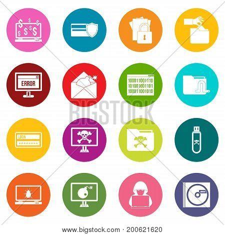 Criminal activity icons many colors set isolated on white for digital marketing